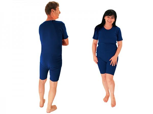 Pflegebody lang mit Rückenverschluss (BIO Baumwolle Overall) marine