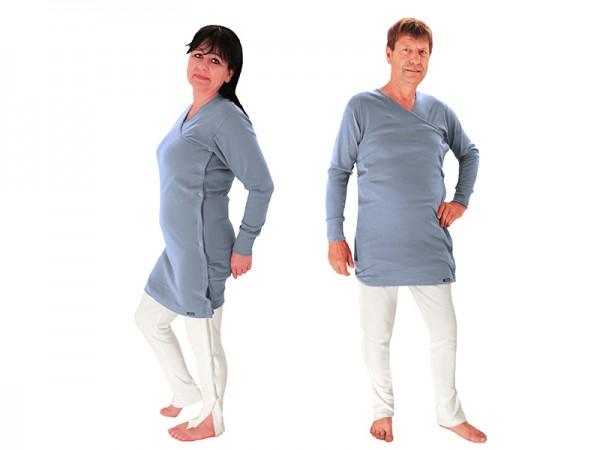 Reha Shirt überlang mit Seitenknöpfung (BIO Baumwolle) grau