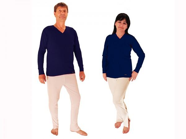 Pflege Reha-Shirt (Wickelhemd langärmlig) marine